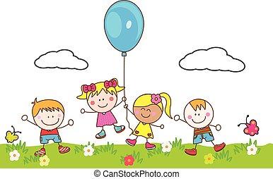 balloon, děti, sad, hraní, šťastný