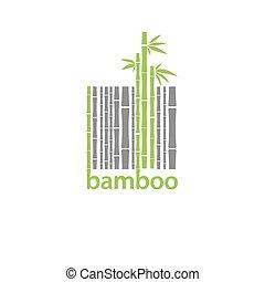 bambus, emblém, stylizovaný, barcode, znak