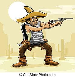 bandita, prérie, mexičan, dělo