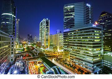 bangkok, město, večer, názor