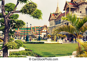 bangkok, palác, královský, asie, důležitý, thajsko
