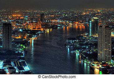 bangkok, phraya, řeka, chao