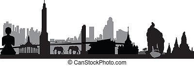 bangkok, prapor, thai, městská silueta