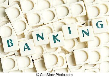 Bankovní slovo vyrobeno z papírů