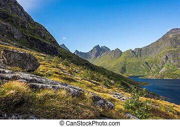 Barevná krajina s ostrými horami v normě.