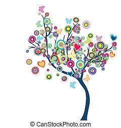 Barevný strom s květinami a motýly