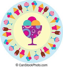 Barevný zmrzlinový ikon, vectro ilustrace