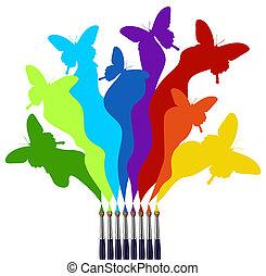 barva, duha, motýl, barevný, šarvátka