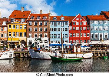 barva, nyhavn, stavení, dánsko, copehnagen