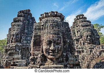 bayon, angkor, chrám, kambodža, postavit se obličejem k