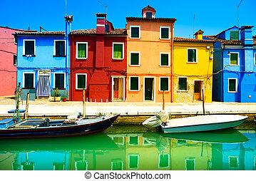 benátky, burano, kanál, barvitý, ostrov, fotografování, italy., dlouho, ubytovat se, mezník, omáčník, odhalení