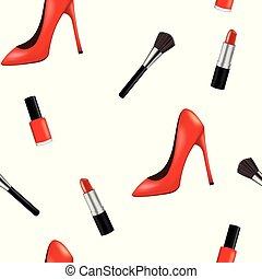 Bezřetný vzor se ženou a make-upem