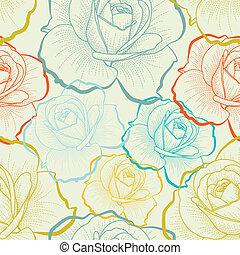 Bezbarevný vzor s barevnými růži