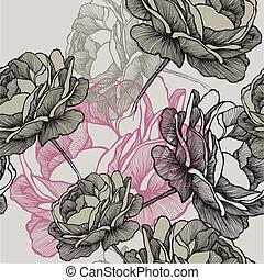 Bezdomovný vzor s kvetoucími růžemi na šedém pozadí, kreslení rukou. Vektorová ilustrace.