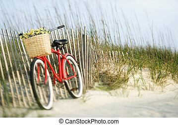 Bicykl s květinami.