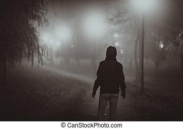 blána, móda, fog., podzim, noir, zděšení, dějiště, osvětlení
