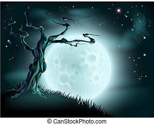 Blue halloweenský strom