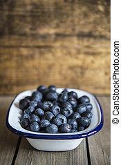blueberries, dávný, dřevěný, venkovský, sázení, grafické pozadí, kuchyně