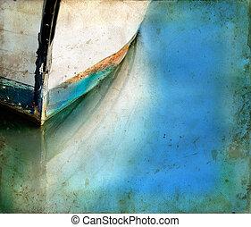 Boat luk a odrazy na grunge
