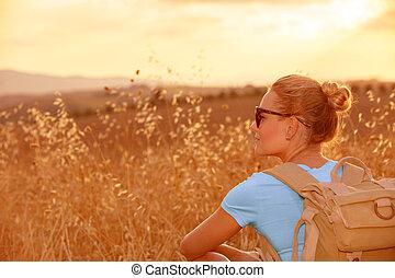 bojiště, udělat si rád, pšenice, západ slunce