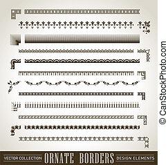 borders, dát, (vector), ozdobený