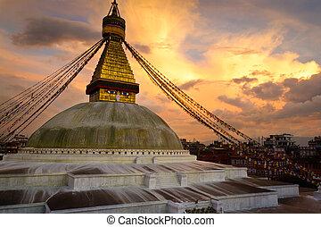 boudhanath, nepál, stupa, (boudnath), kathmandu