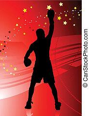 box, červené šaty grafické pozadí