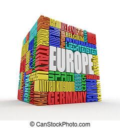 box, europe., pověst, evropský, země