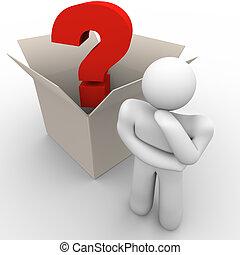 box, myslící, mimo