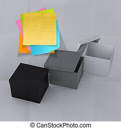 box, zmačkaný, pojem, myslící, lepkavý věnovat pozornost, mimo, noviny