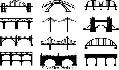brid, silhouettes, vektor, ikona