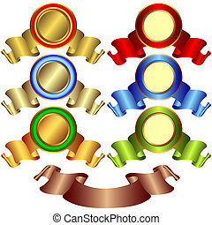 bronzovat, standarta, zlatý, (vector), stříbřitý