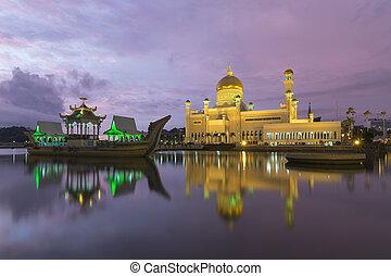 brunei, sultán, ali, mešita, saifuddien, omar
