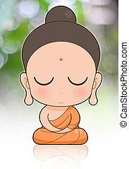 buddhista mnich, karikatura