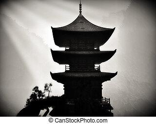 buddhista, zen, chrám