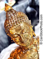 buddhista, zlatý, socha