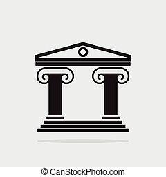 budova, řek sloupec, starobylý, ikona, vektor, architektura