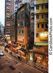 budova, domovní, hong, dávný, kong