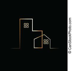 budova, domovní, ubytovat se, emblém