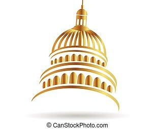 budova, emblém, hlavní, zlatý