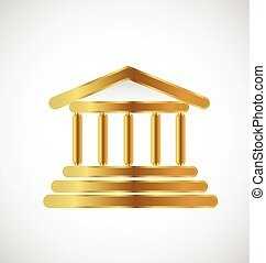 budova, emblém, zlatý, sloupec