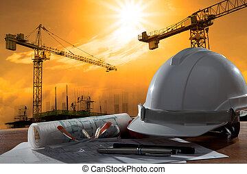 budova, helma, bezpečnost, dějiště, pland, dřevo, strůjce, pořadač, deska, konstrukce, západ slunce