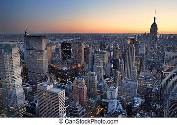 budova, město, with., anténa, panoráma, městská silueta, udat, západ slunce, york, čerstvý, říše, manhattan, názor