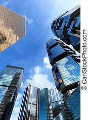 budova, moderní, krajina, hongkong