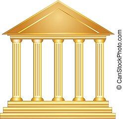 budova, starobylý, zlatý, řečtina, dějinný, sloupec