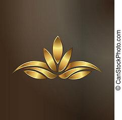 bylina, zlatý, lotus, podoba, přepych, emblém