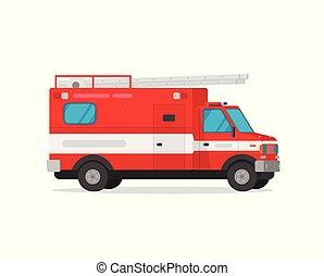 byt, clipart, pohotovostní, ilustrace, oheň, firetruck, osamocený, vektor, podvozek, povoz, neposkvrněný, karikatura