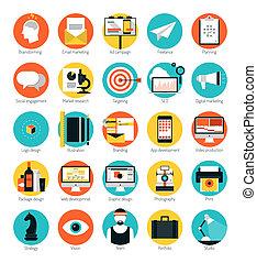 byt, dát, ikona, marketing, design, provozy