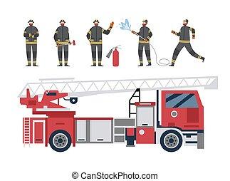 byt, karikatura, osamocený, červeň, firetruck, ilustrace, firefighters, vektor