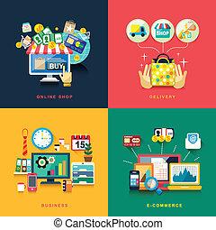 byt, povolání, nakupování, dodávka, design, e- obchod, stav připojení